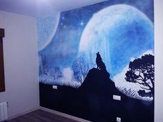 Mural pintado lobo y luna