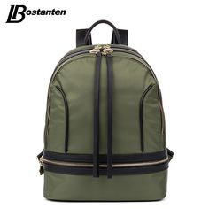 36.84$  Buy here - http://aijkv.worlditems.win/all/product.php?id=32726446139 - Bostanten Womens Backpack Nylon Fashion Casual Style Black/Green/Rose-red Zipper Backpacks For Teenage Girls Travel Backpacking