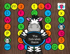 This is a fun set of alphabet games with a zebra theme.   The children practice identifying the letters, or providing words that start with each letter.  They also practice recognizing numbers 1-6 on the dice.