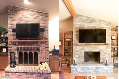 Our thin stone veneer can be directly applied over the existing brick and provide a completely new look.    The stone style is our Wisconsin Prairie stone which has pieces of field stone mixed in with our Mountain Stack.