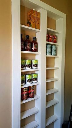 kitchen pantry storage Are you short on kitchen storage? This DIY Pantry Between the Studs adds TONS of useful storage and it's not hard to make. Diy Kitchen Storage, Pantry Storage, Wall Storage, Kitchen Pantry, Kitchen Organization, Wall Pantry, Pantry Diy, Pantry Shelving, Kitchen Redo