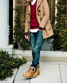 Mens Toggle Coat, Mens White Button Up Shirt, Mens V Sweater, Jeans , Timberland Boots