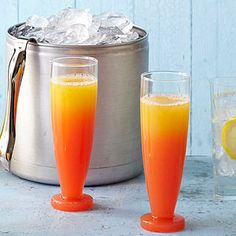 Sunrise Sippers - A real summertime cocktail treat! OJ, rum, triple sec, and a splash of lime juice join to create a sweet and zippy morning cocktail. Party Food And Drinks, Holiday Drinks, Brunch Drinks, Mix Drinks, Refreshing Drinks, Summer Drinks, Fruity Cocktails, Wine Cocktails, Slushies
