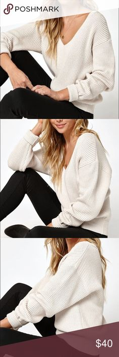 NWOT LA Hearts V Neck Blouson Sleeve Sweater Lowest Price! LA Hearts sweater purchased from PacSun. NWOT. Brand new no flaws. Now sold out. I paid full price for this (as seen from last pic) so the price is FIRM. Available in cream and black in my closet. 100% cotton. PacSun Sweaters