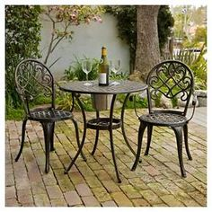 From design to function, the Christopher Knight Home Angeles Cast Aluminum Patio Bistro Furniture Set with Ice Bucket suits your every need. You can even cool your drinks right where you dine! Outdoor Dining Set, Outdoor Rooms, Outdoor Tables, Outdoor Living, Dining Sets, Patio Tables, Patio Seating, Patio Furniture Sets, Garden Furniture