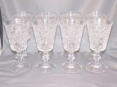 "Set of 8 Clear Glass Water Goblets Pedestal Base 6 3 4"" Tall 