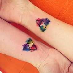 Nerd friends for Life! Triforce Watercolor Tattoo by Kirk at Effum ...