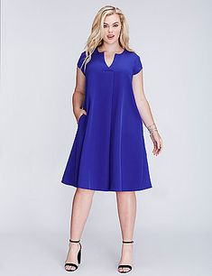 The straight and loose fit (i.e., super-comfy) of a shift dress, plus pockets! Take the guesswork out of getting ready. Cap sleeves. No-closure, pull-over styling. lanebryant.com                                                                                                                                                                                 More