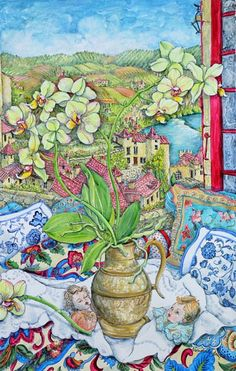 "Nerida de Jong (Born 1945), ""Orchids and St. Cirq Lepopie"""