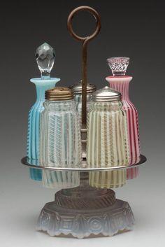 Opalescent Stripe Caster Set Blue Mason Jars, Bottles And Jars, Perfume Bottles, Brides Basket, Condiment Sets, Fenton Glass, Antique Glass, Shake, Evans