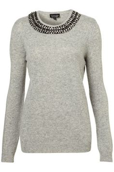 knitted necklace jumper...gray sweater with necklace collar!