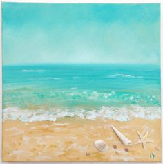 Beach painting with shells and texture, dimension, beach decor with shells and starfish, 12x12 ocean painting, aqua turquoise seascape