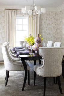 How to Choose a Dining Chair Design  Although it can be chic to pair traditional chairs with a contemporary table, and vice versa, try to find pieces that share a common design element. If the table has a sinuous leg, look for a chair with the same line in the leg or back, or choose upholstery with swirls on it.