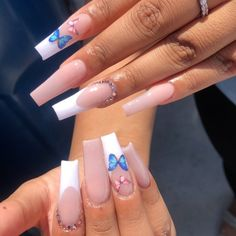 Acrylic Nails Coffin Pink, French Tip Acrylic Nails, Summer Acrylic Nails, Pink Nails, Long French Tip Nails, 3d Nails, Coffin Nails, Grunge Nails, Swag Nails