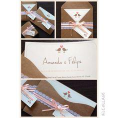 Convite de Casamento Vintage!!  Papel Kraft + Renda + Passarinhos!! <3  www.annahoppe.com.br