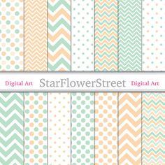 Chevron Polka Dot Digital Paper Scrapbook - green mint and peach scrapbooking 12x12 patterns background create wedding shower party baby on Etsy, 3,49€