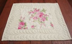 Quilted Table Topper Shabby Chic Table by SharleesQuiltCottage