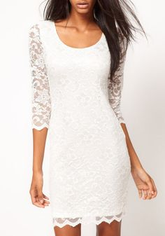 White Plain Double-deck Half Sleeve Skinny Lace Dress