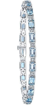 Emerald Cut Aquamarine & Diamond Bracelet 14kt White Gold