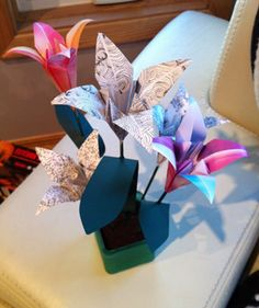 valentines day gift idea pot of origami flowers DIY