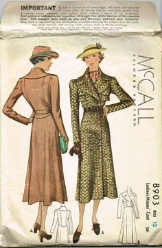 This is a very stylish, pre-cut printed coat pattern, with a copyright date of 1936. It has a large collar, upper pockets, slightly puffed long