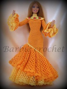 Bellissimo abito all'uncinetto arancio e giallo di Barbiecrochet, €20.00