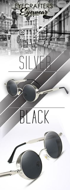 Polarized Silver Black retro vintage sunglasses - Eyecrafters steampunk style gothic sunglasses - Men's affordable top brand designer style fashion accessories eyewear | flawless value #sunglasses #summerfashion #menswear #affordable