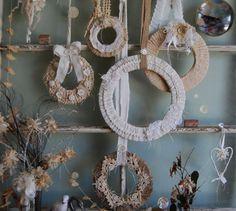 Abandoned Vintage Linen, Lace, and Burlap Set of Wreaths