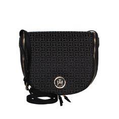 856d95b854 TOMMY HILFIGER Black Grey Canvas Crossbody Bag. Γυναικεία μαύρη γκρι  υφασμάτινη τσάντα χιαστί.