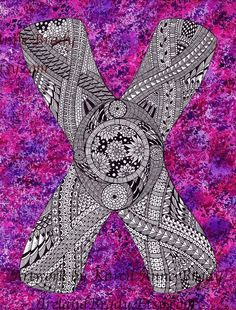 ACEO+Alphabet+Letter+X+zentangle+doodle+initial+by+IrelandBrady,+$1.00