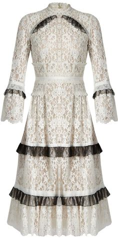 $1,151 - ERDEM Connie ruffle-trimmed floral-lace dress - Erdem's Resort 2017 collection melds notes of Victoriana into its modern-romantic vision of femininity as is exemplified by this midi-length Connie dress. Black ruffled trims lend a gothic edge to the meticulously crafted white cotton-blend floral-lace and an organza underskirt brings fullness to the ladylike silhouette. Finish the look with a bright contemporary handbag and high-heeled sandals.