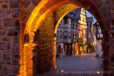 The Medieval town of Riquewihr at twilight, Alsace, France.
