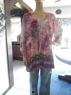 Plus Size 3X Womans Boho Hippie Pink Shirt by LandofBridget, $10.00