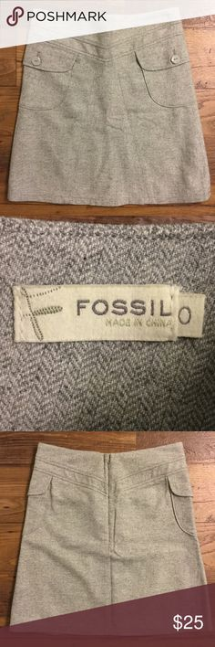 Fossil grey herringbone skirt size 0 Front/side pockets. Back zipper. Lined. Gently used. Fossil Skirts A-Line or Full