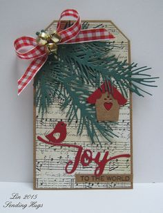 Christmas tag using IO Pine Branch die, WPlus9 Folk Art Floral dies, WPlus9 Hand Lettered Holiday die/stamp
