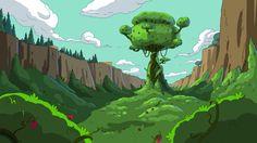 Adventure Time background art, the kingdom of Wildberry Princess.