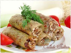 pırasa dolması Turkish Recipes, Ethnic Recipes, Turkish Delight, Fresh Rolls, Meat Recipes, Deserts, Food And Drink, Pasta, Meals