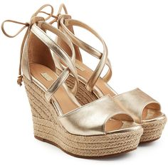 UGG Australia Metallic Wedge Sandals ($170) ❤ liked on Polyvore featuring shoes, sandals, gold, wedge heel sandals, wedge sandals, leather wedge shoes, ugg shoes and polish shoes