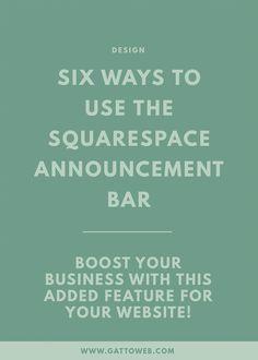 Squarespace Design | Creative Business | Announcement Bar | Website Design | Small Biz