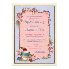 Tea Party Bridal Shower Garden Teacup Invitation