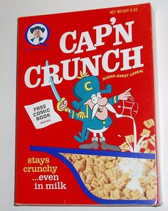 Cap'n Crunch cereal box front with six different hand puppet premiums inside From Quaker Oats. Guppy, Crunch Cereal, Cap'n Crunch, Ready Player One, Breakfast Cereal, Morning Breakfast, Good Ole, Food Packaging, Cereal Packaging