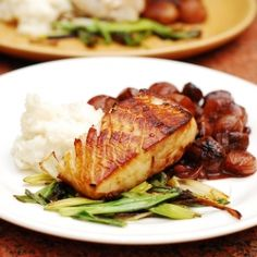 Black cod with balsamic braised shallots: can't stop dipping buttery fish into a red wine based sauce. With mashed potatoes and green onions.