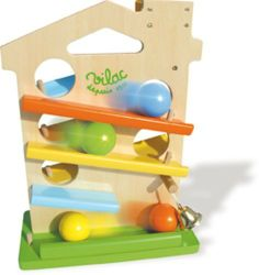 Vilac House of Balls Toy by Vilac. $51.77. Your baby will be mesmerized playing with this House of Balls. 4 different colored balls race down the track hitting the bell at the bottom. Made of high quality lacquered wood and non-toxic finish. Encourages creative thinking and problem solving skills. This timeless toy will be part of your child's toy box for years to come.