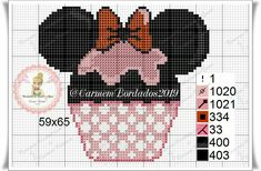 Cupcake Mickey, Mickey Y Minnie, Cross Stitching, Cross Stitch Embroidery, Cross Stitch Patterns, Valentine Gift Baskets, Valentine Gifts, Perler Bead Art, Needlepoint Patterns