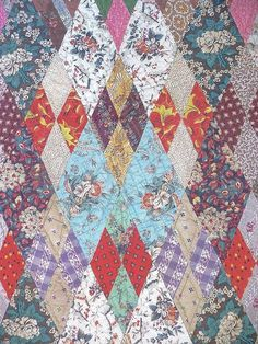 Antique Quilt  c 1850s  sumptuous Chintzes New England, cow hollow collectibles on ruby lane