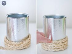 Wrap an empty paint can (from chandlery).  Can drop a glass with different mini arrangements into the can each day/AM.