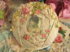 Beautiful vintage look shabby chic ribbon work with vintage photo Silk Ribbon Embroidery, Embroidery Stitches, Embroidery Patterns, Hand Embroidery, Crazy Quilt Stitches, Crazy Quilting, Victorian Crafts, Crazy Patchwork, Quilt Stitching