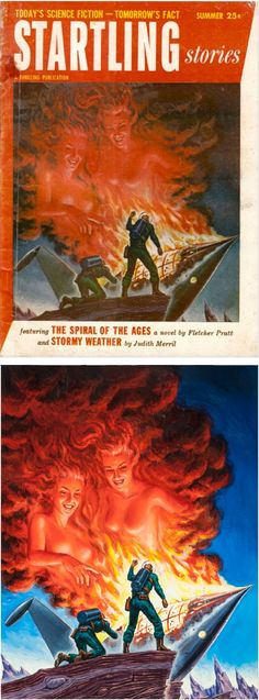 ED EMSHWILLER - The Spiral of the Ages by Fletcher Pratt  - Summer 1954 Startling Stories - print/cover by fineart.ha.com