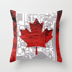 circuit board Canada (Flag) Throw Pillow by seb mcnulty - $20.00