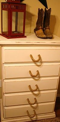 Rope handles on dresser for cowboy/COWGIRL nursery @Terra Chapman